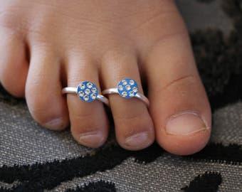 Diamonte Crystal Blue Bollywood Indian Vintage Toe Ring Adjustable Pair