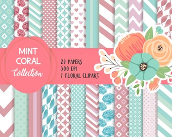 Coral Mint Papers, Coral Paper pack, Mint paper pack, Roses paper, Digital floral paper, instant download, Leaves paper, Pastel paper pack