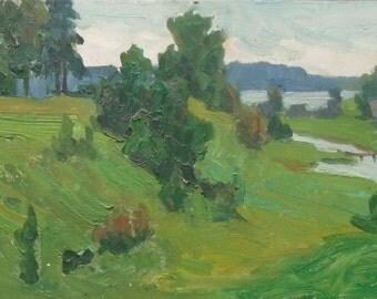 VINTAGE SOVIET ART Original Oil painting a Soviet Ukrainian artist Ovsyannikova E. 1960s, Signed, Lake painting, Soviet Ukrainian Art