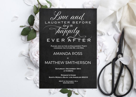 Engagement Invitation - Instant Download Engagement Party - Love and Laughter before our happily ever after - Downloadable Wedding #WDH0226