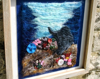 Having A Forage - framed needle felted picture
