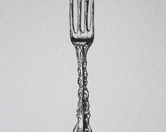 Antique Fork Art Print. Pen and Ink Illustration.