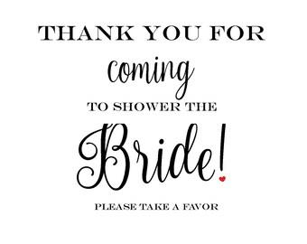 Bridal Shower Favor Sign Thank You
