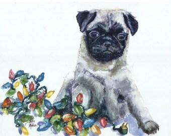 Pug Holiday Card, Pug Christmas Card, Christmas Card, Holiday Card, Greeting Card, Pack Of Ten, Cards, Pug Christmas Card, Pug Card, Greetin