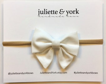 White Mini Sailor Bow {Nylon Headband or Alligator Clip} baby bows, baby bow headband, bow clips, nylon headband