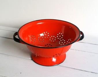 Beautiful red enamel colander