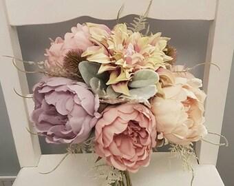 Vintage silk bridal bouquet - Bridesmaid bouquet- Wedding bouquet- Bridal bouquet