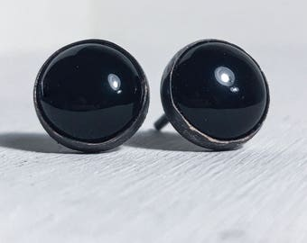 Black onyx cabachon studs with oxidized copper settings 10mm minimalist earrings