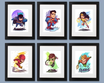 The Justice League Wall Art - Set of 6 Prints (Batman, Superman, Wonder Woman, The Flash, Green Lantern, Aquaman)