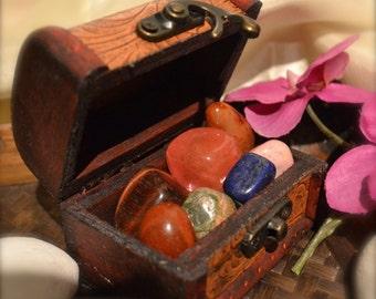 Healing Crystal Gemstones in Treasure Chest