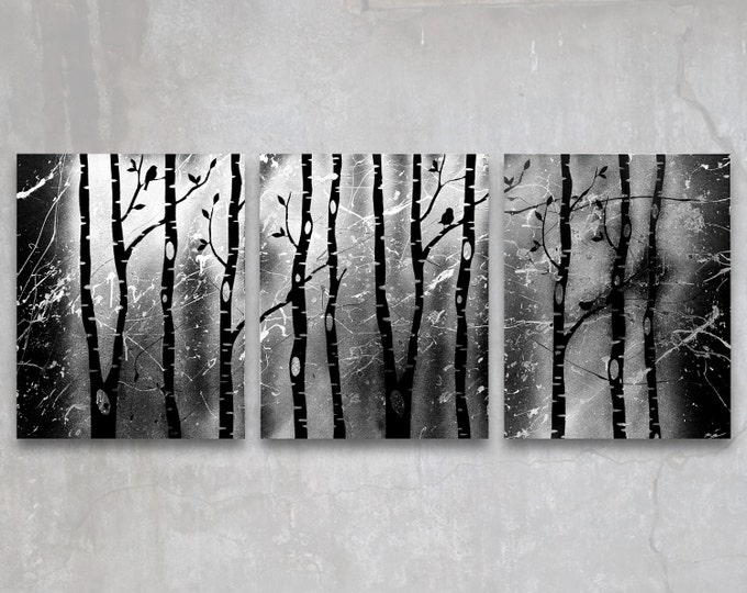 birch trees // custom original painting // modern triptych // nature painting // metallic large wall art / silver tree silhouette nature art