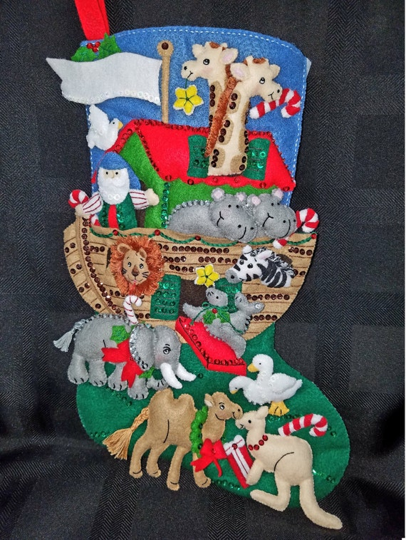 "NOAH'S ARK 18"" Bucilla Felt Christmas Stocking"