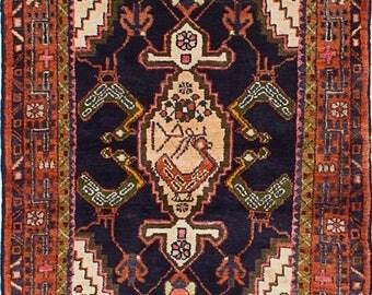 "3'2"" x 4'2"" Hamadan Vintage Persian Rug"