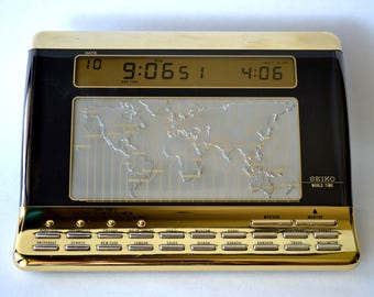 Seiko World Time Desk Clock, Calendar, Weather, Gold and Black Vintage 1980s Desk Accessory, Digital Clock, World Time Zones Clock 271