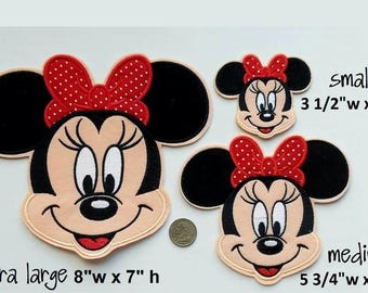 Minnie Mouse Iron on Patch - Extra Large Minnie Mouse - Medium Minnie Mouse - Small Minnie Mouse Applique'  - Ready to Ship