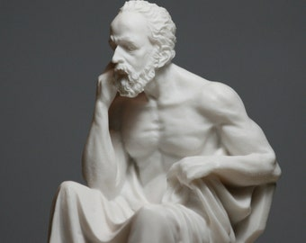 Greek Philosopher SOCRATES Alabaster Statue Sculpture Athens Academy 6.7in - 17cm **Free Shipping & Free Tracking Number**