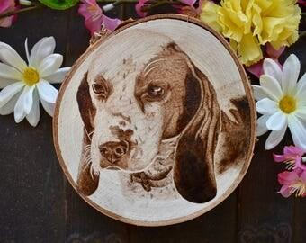 Custom Wood Burned Pyrography Photo Realistic Pet Portrait Wood Round Wood Slice Plaque Wall Decor Memorial