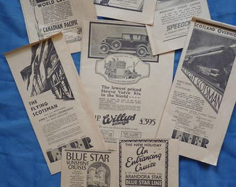 Flying Scotsman! 1930 Transport Adverts. Newspaper adverts. Scrapping, framing and decoupage