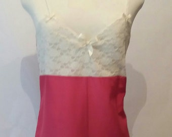 Pink and Cream Nightwear Playsuit/Sleepwear in size 8-10