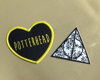 Harry Potter patch, potterhead patch, deathly patch, Harry Potter patch set