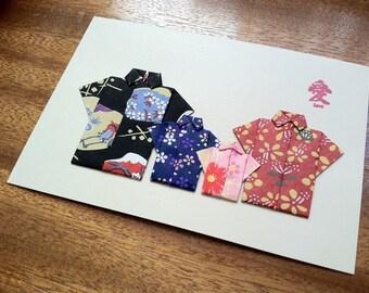 Handmade Origami Family Vacation Card