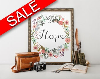 Wall Decor Hope Printable Hope Prints Hope Sign Hope Inspirational Art Hope Inspirational Print Hope Printable Art Hope Religious Wall Decor