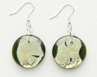 Dangle Earrings | Green & Gold | Glass Jewelry
