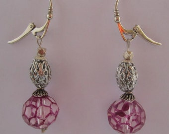Vintage Czech Faceted Glass Fuchsia Beads 1950s, Silver Plated Filigree Beads 1960s, Silver Handmade Ear Wires