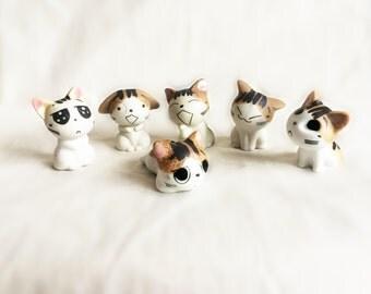 Chi's Sweet Home, cat, ceramic cat, lovely cat, cat decoration, ceramic statue, cat statue, handmade cat, bedroom decoration