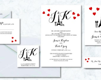 Paris Sweetheart Wedding Invitation Set