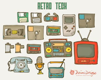 Retro tech clipart commercial use, 90s technology, TV, vcr, rotary phone, microphone, radio, AM FM film tape deck, vhs disc instant download