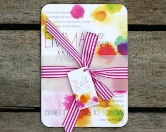 Splash Colourful Wedding Invitation - Belly Band Style - SAMPLE ONLY