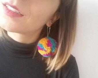 Bright Pom Pom Earrings - Statement Earrings - Rainbow Ear Wear - Pompom Earring - Abstract Style - Dangle Earring - Festival Accessories