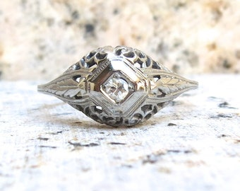 Diamond Solitaire Wedding Ring, Antique Art Deco Engagement Ring, Vintage Engagement Ring