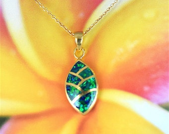 Opal Pendant, Sterling Silver Yellow Gold Plated Fire Opal Inlay Necklace With 18 inch Cable Chain, N2577