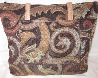 Fabric tote bag,zippered tote,vegan handbag