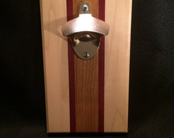 "The ""Redline"" Maple, Purple Heart and Cherry Wood / Magnetic Bottle Opener"