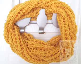Sunshine Wool Cowl, Infinity Scarf, Knit Scarf, Warm Accessory