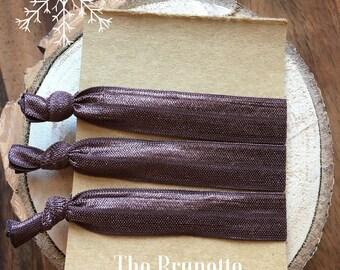 "Hair Tie Elastics ""The Brunette"" Ribbon Hair Bracelets ~ Brunette Hair, Yoga Hair, Hair Bands, Hair Accessories, Favors, Gifts"