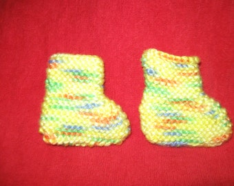Baby Booties Socks Homemade  Hand Knitted Pastel Multi Color