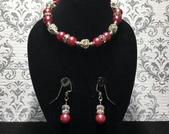 Pink diamond balls with earrings