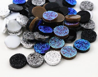 50pcs 12mm Mix Color Ore Style Flat Back Resin Cabochons Cameo