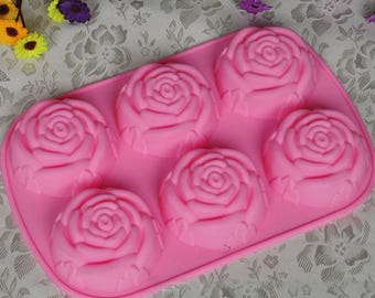 6 Rose Flower Silicone Cake Chocolate DIY Tool Mold Baking Accessories Chocolate Mold