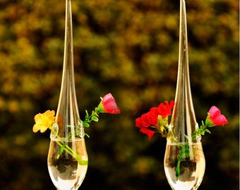 2 Pcs Water Drop Clear Glass Hanging Vase Home Furnishing Crafts