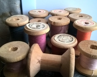 Set: 14 Vintage USSR Wood Sewing Spool