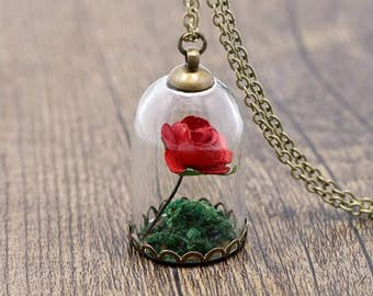 And the beast rose enchanted necklace