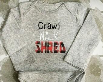 Crawl walk shred snowboarding onesie