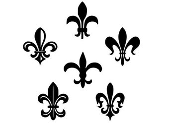 FLEUR DE LIS- Set of 6 Vinyl Decals, New Orleans, New Orleans Saints, Yeti Decal, Laptop Decal, Cellphone Decal, Fast Shipping!