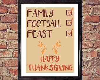 Turkey, Football, Family, Feast, Happy Thanksgiving, Thanksgiving art, Holiday decoration, Digital artwork, Printable art, home decor
