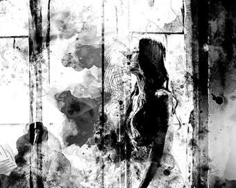 Waiting bride, monochrome wall art, romantic bride, soulful woman, modern wall art